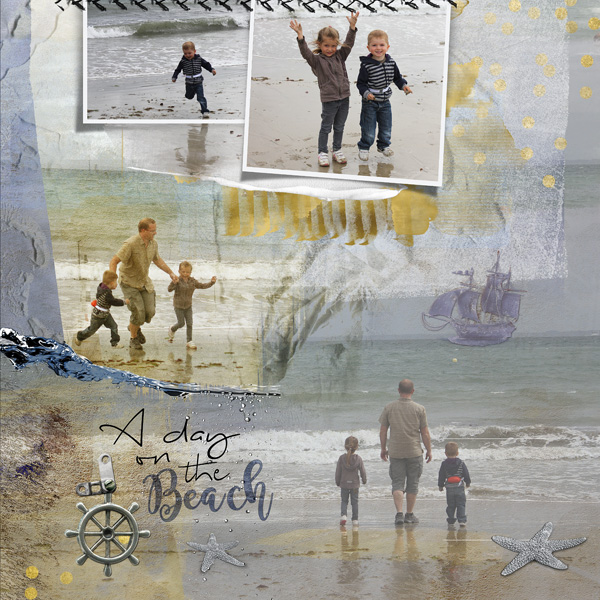 clin d'oeil design NBK design Beyond the sea artsy scrapbook layout out of the frame sea ocean summer