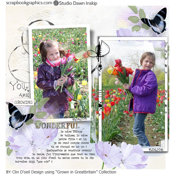 Mila et les tulipes scrap digital by clin d'oeil design