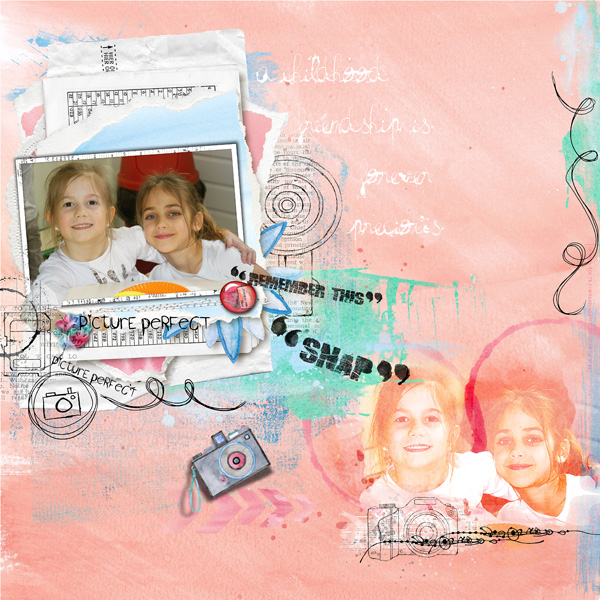 Snap happy Dawn Inskip Un kit sur la photographie, et le plaisir de faire des photos, de les immortaliser sur vos pages de scrap Scrapbook page Artsy watercolour paperstack photo