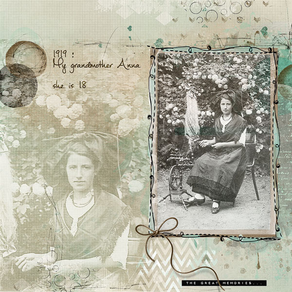 Granny's Garden kit by NBK Design vintage scrapbook page by Clin d'oeil design
