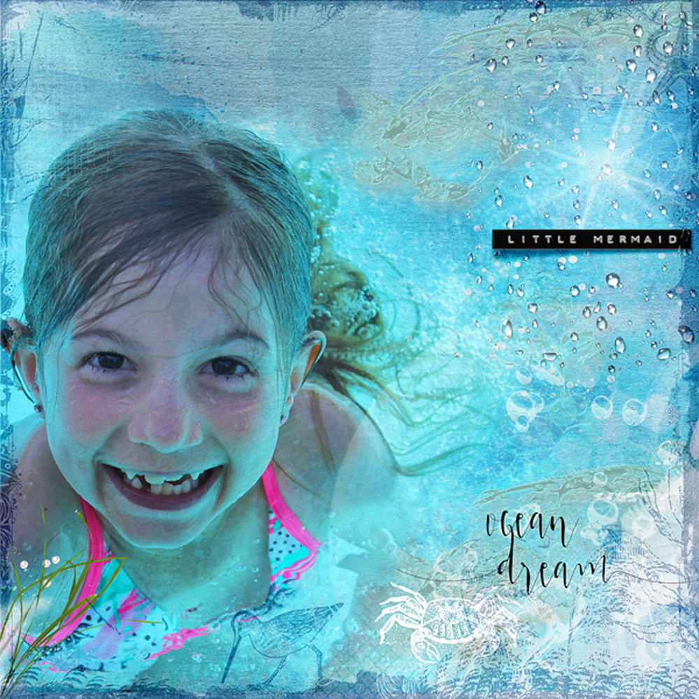 clin d'oeil design clindoeildesign NBK design Beyond the sea artsy scrapbook layout sea ocean summer template easy to use underwater