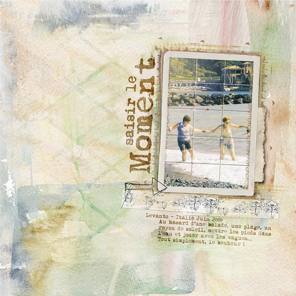 Saisir le moment une page faite par clin d'oeil design avec le kit besotted dawn inskip scrap digital plage mer