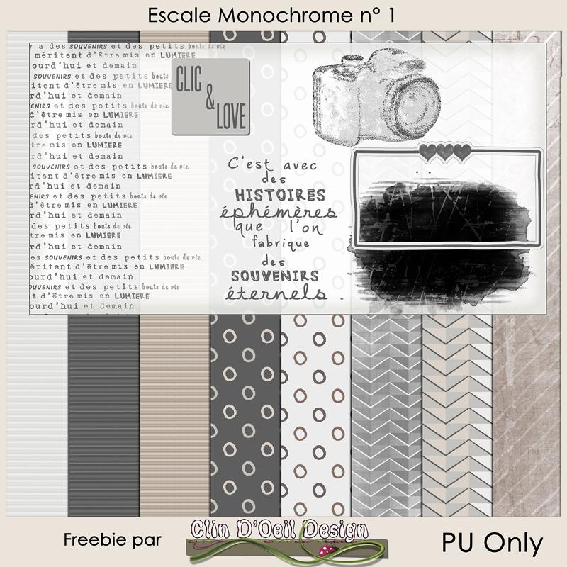 Escale Monochrome Publiscrap partie crée par Clin d'oeil Design Freebie