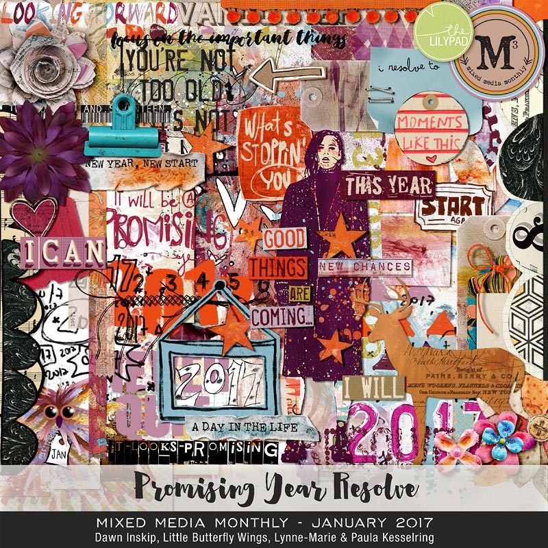 Monthly Mixed Media Janvier Dawn Inskip Clindoeildesign