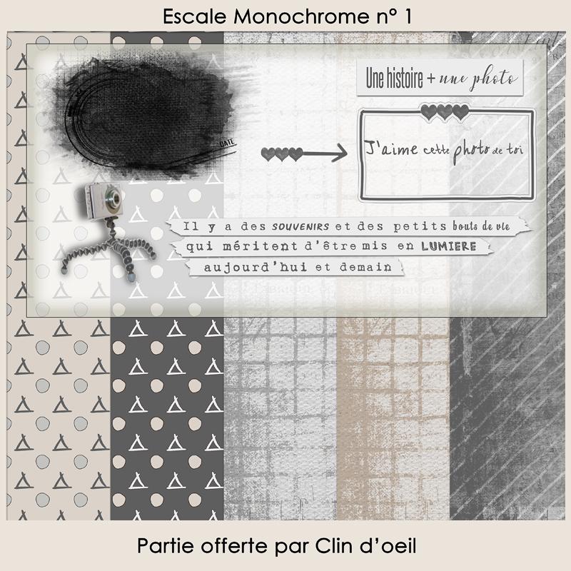 Escale Monochrome Publiscrap ADD-ON crée par Clin d'oeil Design Freebie