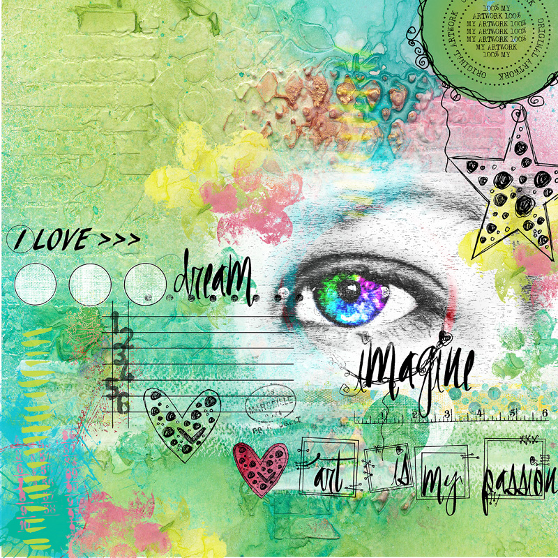 Love, dream, Imagine Mixed media scrapbook page by clin d'oeil Design
