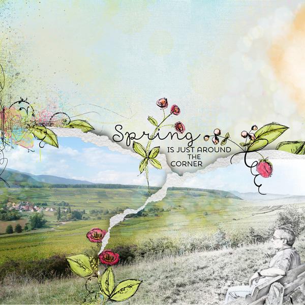 Spring is just around the corner le printemps est juste derrière la porte scrap digital clin d'oeil design