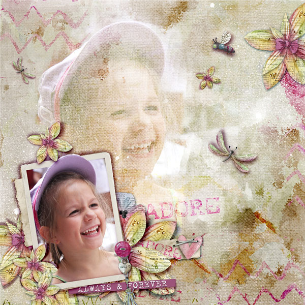 Dawn Inskip Besotted collection Inspiration ce sourire communicatif pour une page gaie par Clin d'oeil design