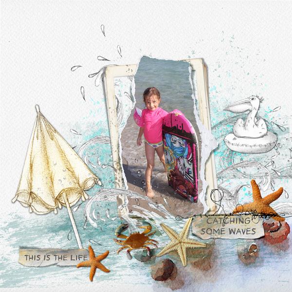 Light & shade collection Un kit aux couleurs de l'été et de la plage. Le plus de ce kit : des éléments juste crayonnés, blancs, et des taches de couleurs à mixer en mode de fusion
