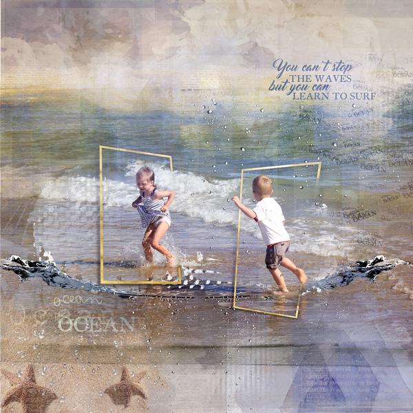clin d'oeil design NBK design Beyond the sea artsy scrapbook layout out of the frame sea ocean summer template east to use