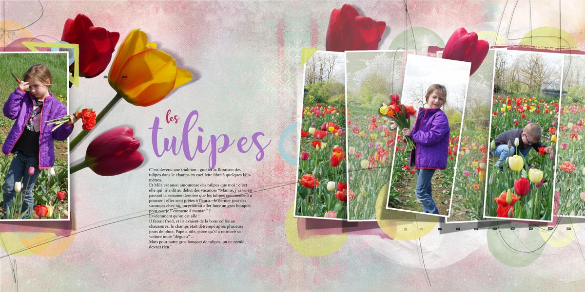 Les tulipes MAY Bundle by NBK design scrap templates double page