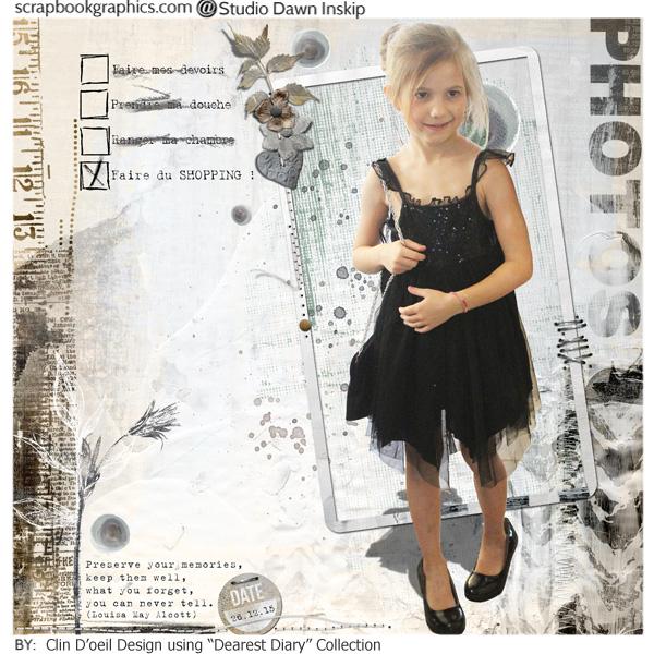 Dearest diary Dawn Inskip Une jolie page monochrome qui collait bien avec cette photo en tenue de soirée !