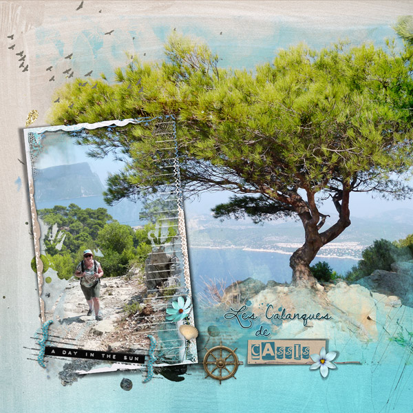 clin d'oeil design NBK design Beach Memories artsy scrapbook layout out of the frame sea ocean summer template easy to use