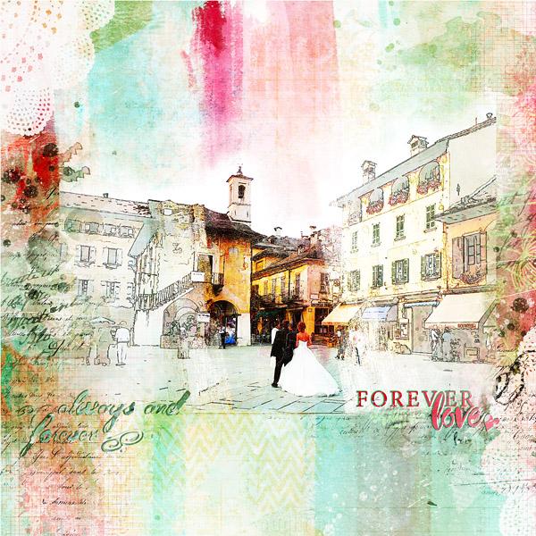 Forever Love une page Scrap digital moitié sketch moitié aquarelle avec le kit She de NBK Design