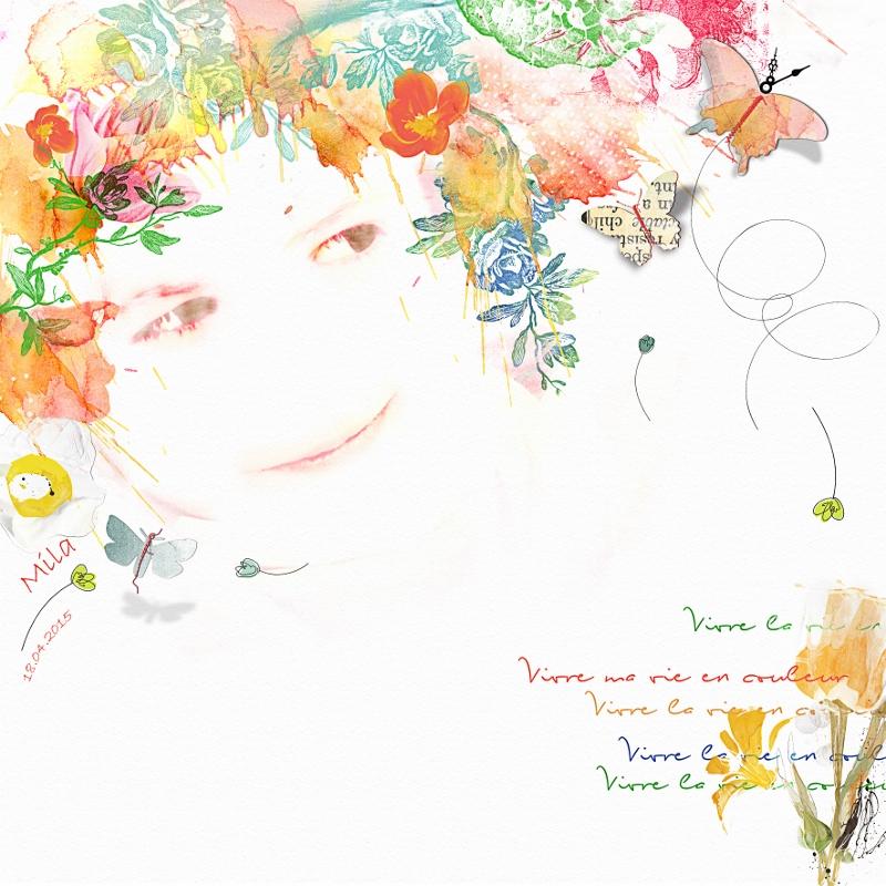 Une page aquarelle C&S Clin d'oeil Design
