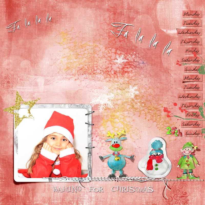 Attendre Noël Kit Jolly holiday Dawn Inskip - A scrapbookpage by Clin d'oeil Design