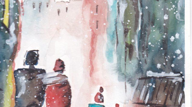 Paysages d'hiver à l'aquarelle