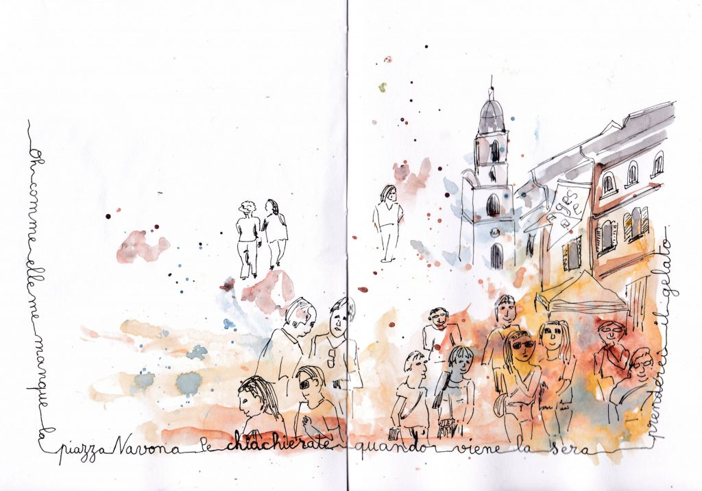 Dessiner la foule : piazza Navona